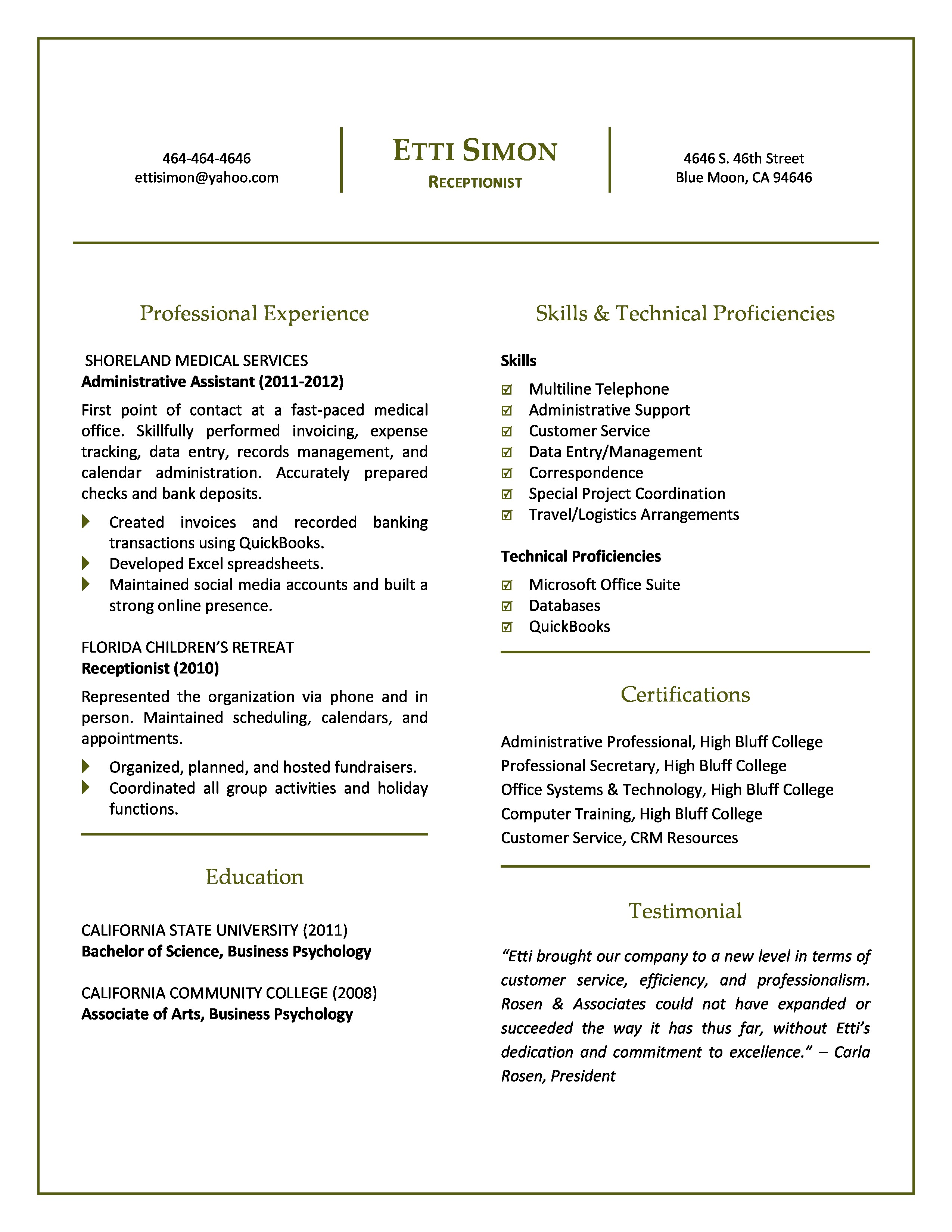 Premier Student/Entry-Level Resume Package | A Vita Career Management